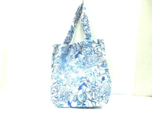 SWASH(スウォッシュ) トートバッグ ブルー×グレー×白 花柄 キャンバス