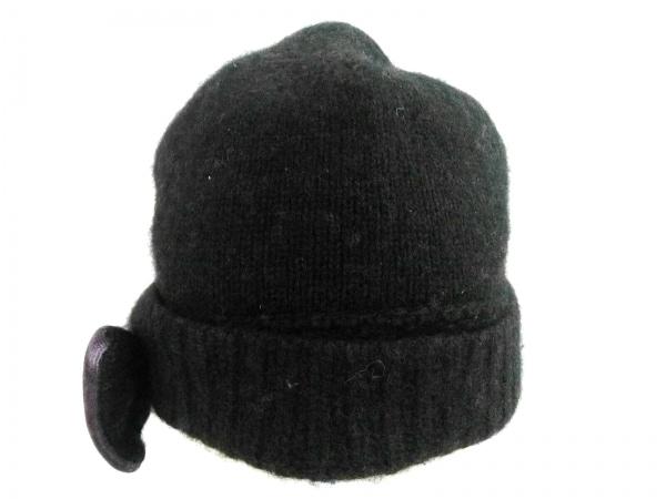マークジェイコブス ニット帽 ダークブラウン×パープル リボン アンゴラ×ウール