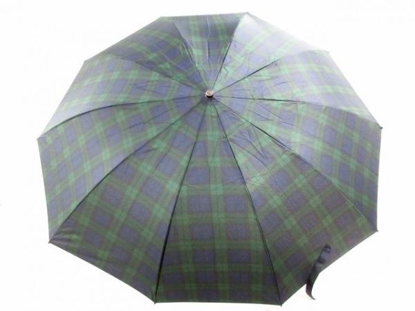 フォックスアンブレラ 折りたたみ傘美品  ネイビー×グリーン チェック柄