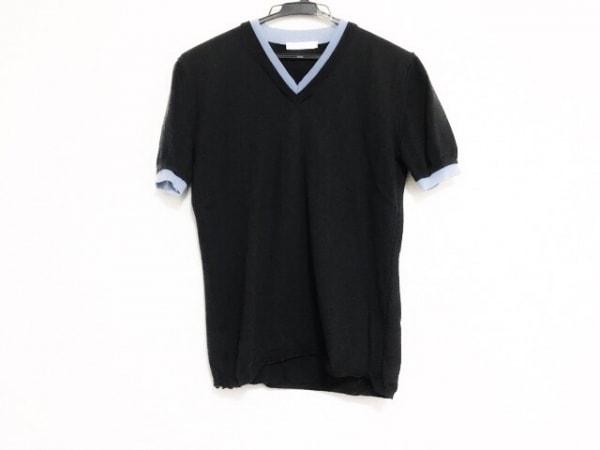 ポールカ 半袖セーター サイズM レディース美品  ダークグレー×ライトグレーブルー