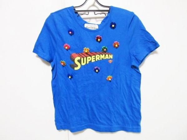 ミュベール 半袖Tシャツ サイズ40 M レディース ブルー×マルチ SUPERMAN/ビジュー