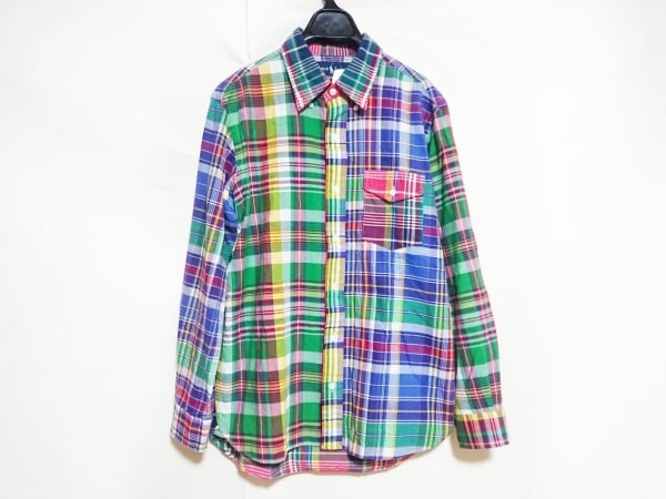 ラルフローレン 長袖シャツ メンズ美品  グリーン×ネイビー×マルチ チェック柄