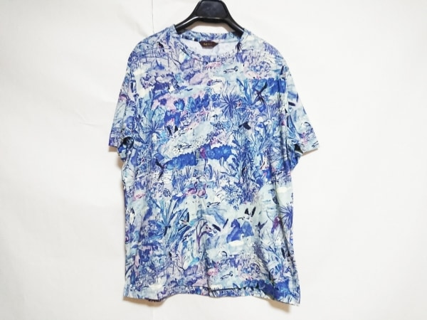 ポールスミス 半袖Tシャツ メンズ新品同様  ブルー×パープル×マルチ 鳥柄