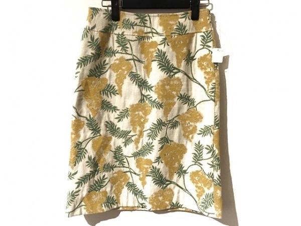 ケイタマルヤマ スカート サイズ1 S レディース イエロー×グリーン×マルチ 花柄