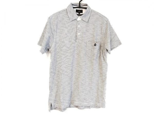 dunhill/ALFREDDUNHILL(ダンヒル) 半袖ポロシャツ サイズS メンズ 白×黒 ボーダー