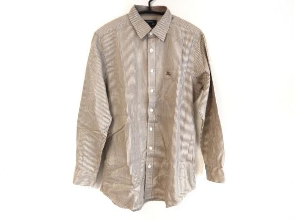 バーバリーロンドン 長袖シャツ サイズM メンズ ブラウン×グレー×白 ストライプ