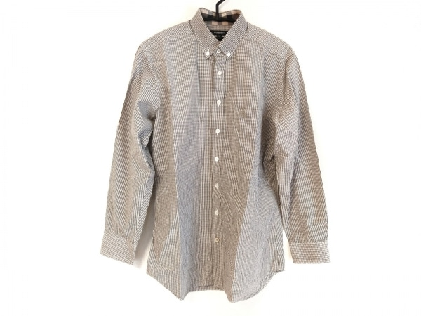 バーバリーロンドン 長袖シャツ サイズM メンズ カーキ×白×ベージュ チェック柄