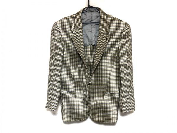 ティエリーミュグレー ジャケット メンズ美品  アイボリー×黒 チェック柄/肩パッド