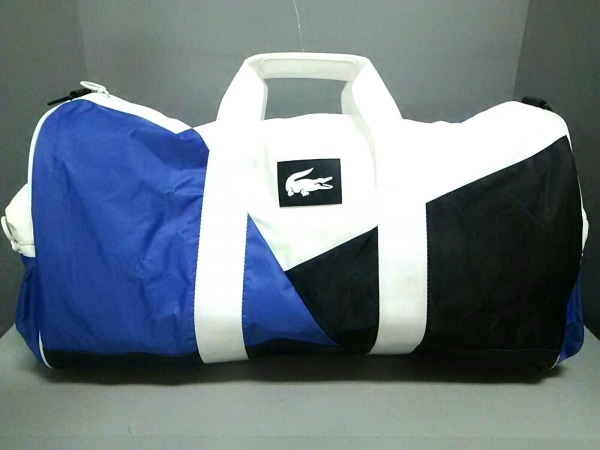 Lacoste(ラコステ) ボストンバッグ美品  白×黒×ブルー ナイロン×合皮