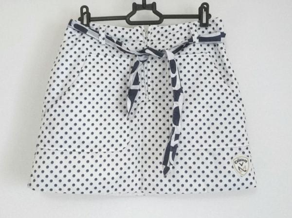 キャロウェイ スカート サイズS レディース美品  白×ネイビー ドット柄/リボン
