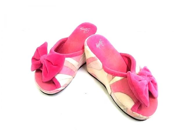 レディ 靴 確認出来ず レディース ピンク×マルチ スリッパ/リボン/ウェッジソール