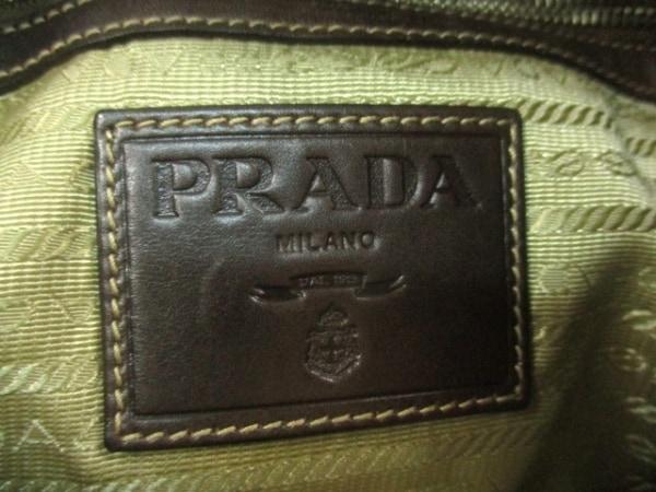 c6f0e334b09d ... プラダ ショルダーバッグ ロゴジャガード ベージュ×ダークブラウン 革タグ/巾着型 ...
