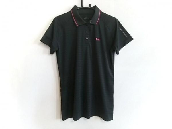 アンダーアーマー 半袖ポロシャツ サイズLG L レディース美品  黒×ピンク ボーダー