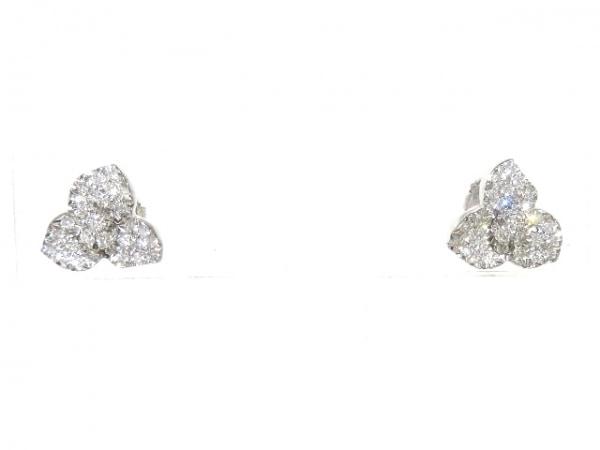 PIAGET(ピアジェ) ピアス美品  K18WG×ダイヤモンド フラワー/パヴェダイヤ