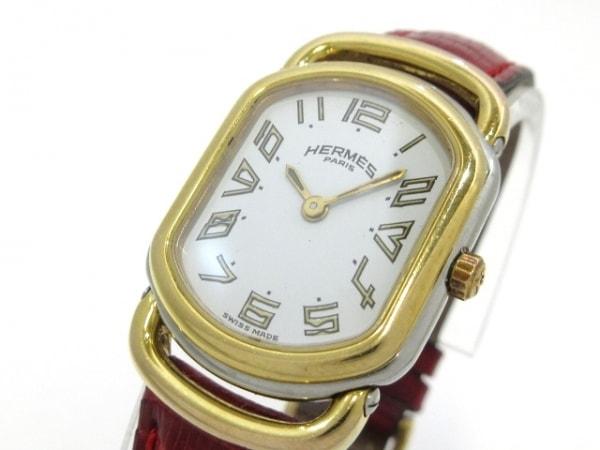 HERMES(エルメス) 腕時計 ラリー - レディース 社外型押し革ベルト 白