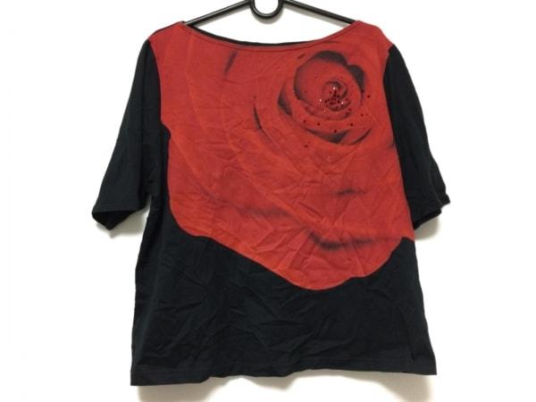 ヒロコビス 半袖Tシャツ サイズ15AB L レディース レッド×黒 ラインストーン