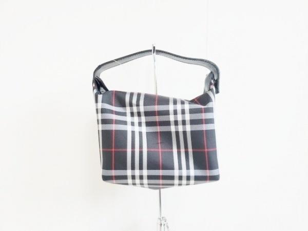 バーバリーロンドン ハンドバッグ 黒×白×レッド チェック柄 ナイロン×レザー