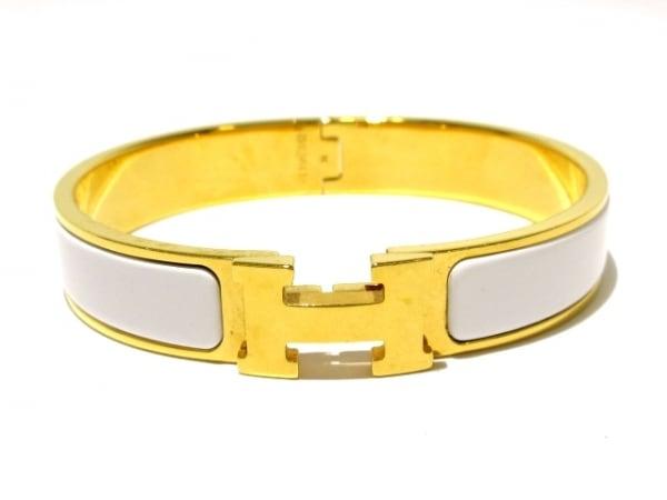 HERMES(エルメス) バングル美品  クリッククラック 金属素材 ゴールド×白