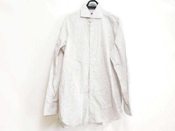 BARBA(バルバ) 長袖シャツ サイズL メンズ美品  白×ベージュ×ネイビー DANDYLIFE