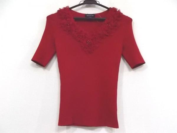 EPOCA(エポカ) 半袖セーター サイズ40 M レディース新品同様  レッド ビーズ