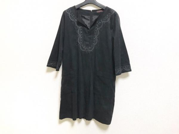 スマートピンク ワンピース サイズ42 L レディース美品  黒×グレー×ベージュ 刺繍