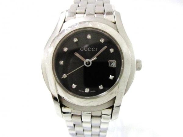 GUCCI(グッチ) 腕時計美品  5500L レディース 11Pダイヤ 黒