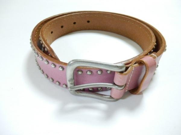 ホワイトハウスコックス ベルト 30/75 ピンク×シルバー スタッズ レザー×金属素材