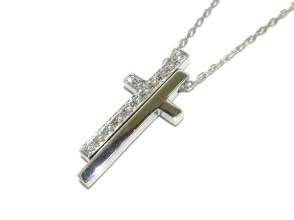 GUCCI(グッチ) ネックレス美品  セパレートクロス K18WG×ダイヤモンド 13Pダイヤ
