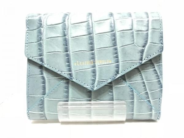 レザージュエルズ 2つ折り財布新品同様  ブルー×ネイビー 型押し加工 レザー