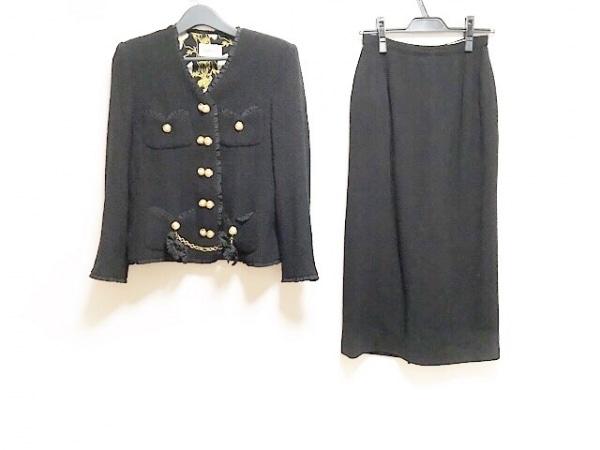 インゲボルグ スカートスーツ サイズS レディース 黒 ロング丈/リボン/フリル