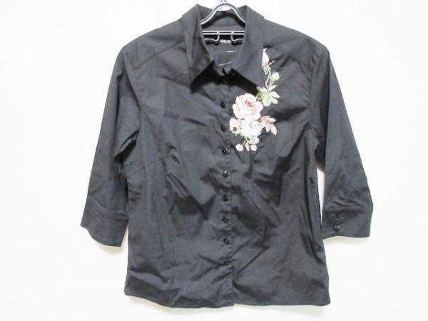 INGEBORG(インゲボルグ) 七分袖シャツブラウス サイズM レディース 黒 フラワー/刺繍