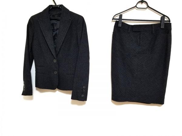 フラジール スカートスーツ サイズ38 M レディース美品  ダークグレー 肩パッド/ラメ