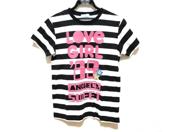 ANGEL BLUE(エンジェルブルー) 半袖Tシャツ サイズL レディース美品  白×黒×ピンク