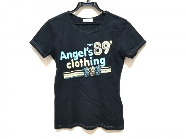 エンジェルブルー 半袖Tシャツ サイズL レディース美品  黒×ライトブルー×イエロー