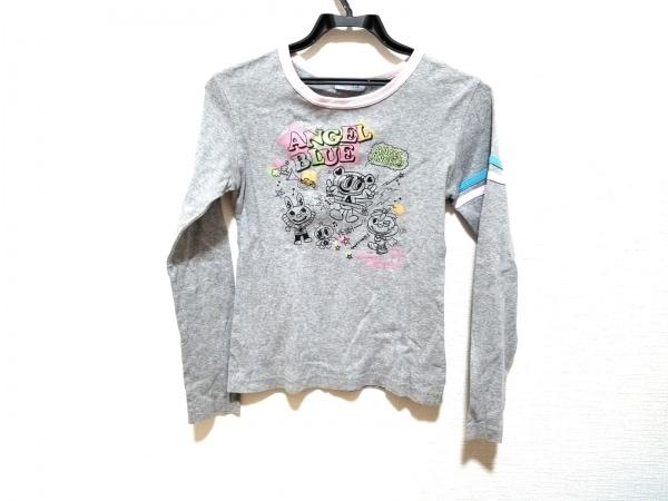 エンジェルブルー 長袖Tシャツ サイズL レディース美品  ライトグレー×黒×マルチ
