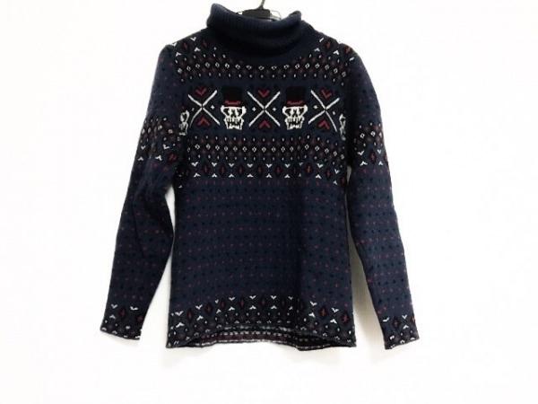 ヒステリックグラマー 長袖セーター サイズF レディース美品  ネイビー×黒×マルチ