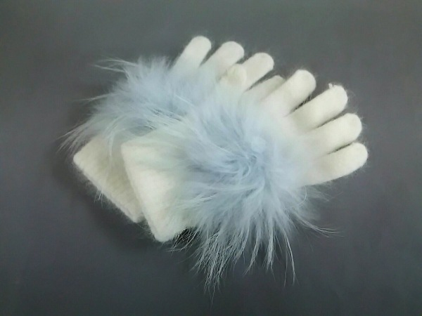 yves salomon(イヴサロモン) 手袋 レディース美品  白×ライトグレー