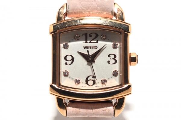 WIRED(ワイアード) 腕時計 1N01-0JE0 レディース 革ベルト/ラインストーン 白