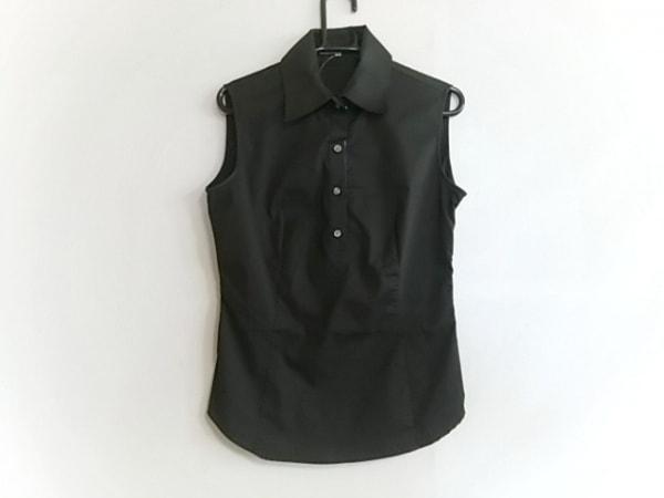 ニジュウサンク ノースリーブポロシャツ サイズ38 M レディース美品  黒×マルチ