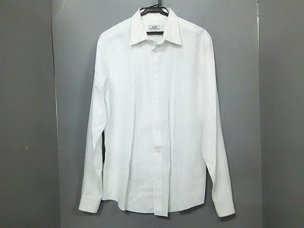 HERMES(エルメス) 長袖シャツ サイズ16/41 メンズ美品  白×ライトグレー ストライプ
