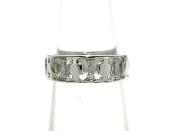 CELINE(セリーヌ) リング美品  - K18WG×ダイヤモンド 9Pダイヤ/マカダムモチーフ