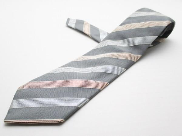 PaulSmith(ポールスミス) ネクタイ メンズ美品  グレー×白×レッド 斜めストライプ