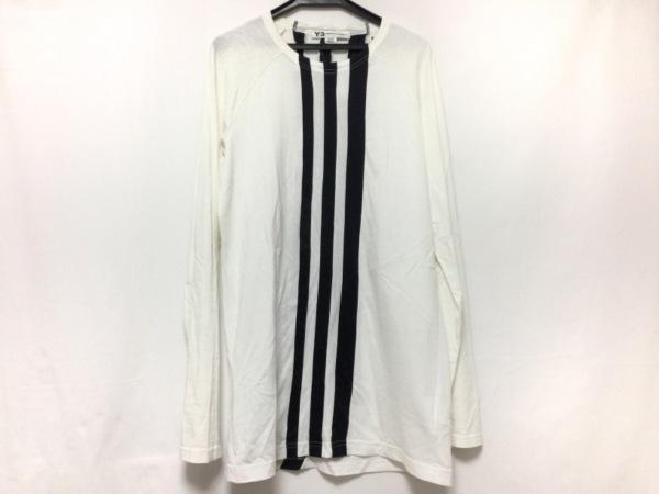 Y-3(ワイスリー) 長袖Tシャツ サイズXS メンズ 白×黒 ストライプ/adidas