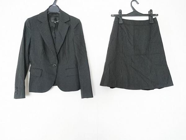 クリアインプレッション スカートスーツ サイズ1 S レディース 黒×グレー ストライプ