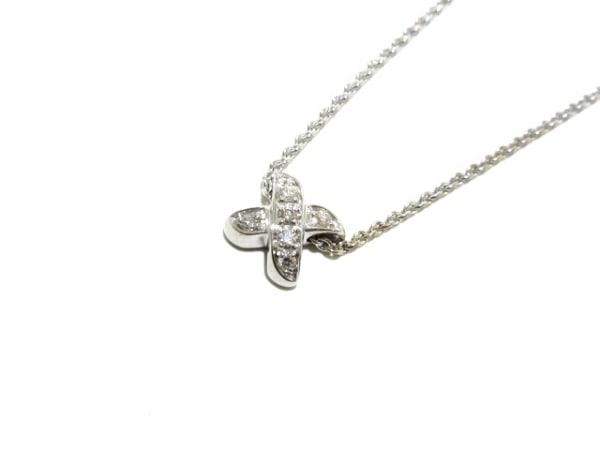 ティファニー ネックレス美品  シグネチャー K18WG×ダイヤモンド 7Pダイヤ