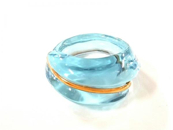 Baccarat(バカラ) リング美品  クリスタルガラス×K18YG ライトブルー×クリア
