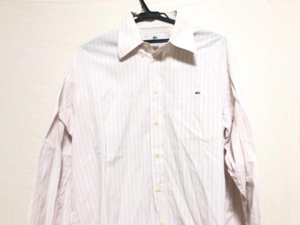 ラコステ 長袖シャツ サイズ4 XL メンズ ピンク×ブルー×ライトグレー ストライプ
