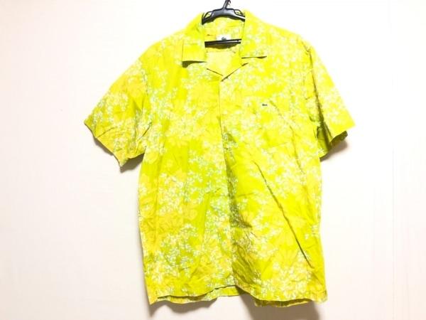 ラコステ 半袖シャツ サイズ5 XL メンズ ライトグリーン×イエロー×マルチ 花柄
