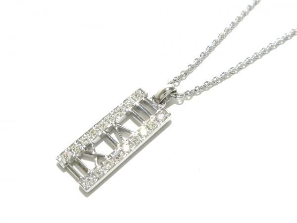 ティファニー ネックレス美品  アトラスオープンバー K18WG×ダイヤモンド 18Pダイヤ
