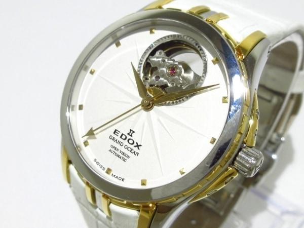 エドックス 腕時計美品  グランドオーシャン オープンハート 85012 レディース 白